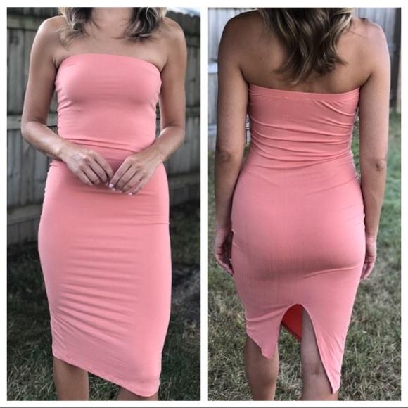41561980c6f Dresses peach bodycon high slit midi tube dress poshmark jpg 580x580 Peach  tube dress